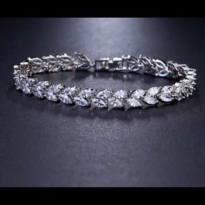 Jewelry - AAA Cubic White Zirconia Leaf Bracelet For Bride